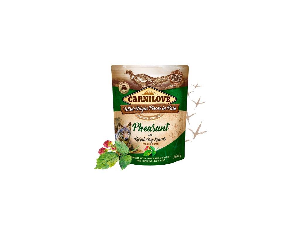 83637 carnilove dog pouch pate pheasant raspberry 300g