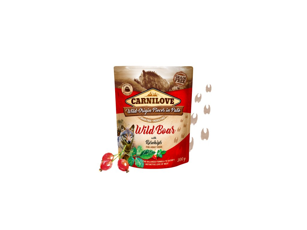 83649 carnilove dog pouch pate wild boar rosehips 300g