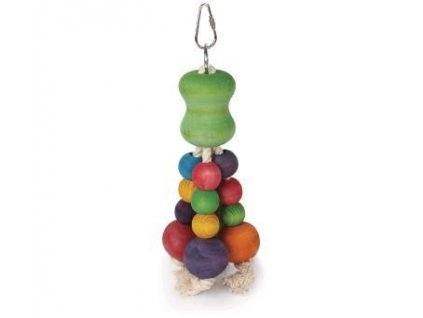 24102 hracka ptak drevo bavlna barevne kulicky tommi 22 cm