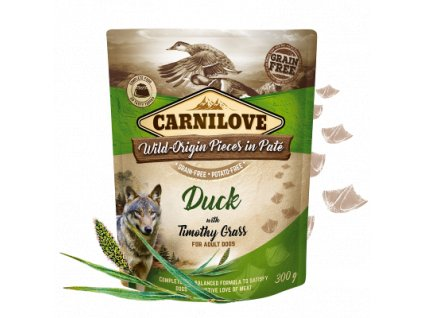 83646 carnilove dog pouch pate duck timothy grass 300g