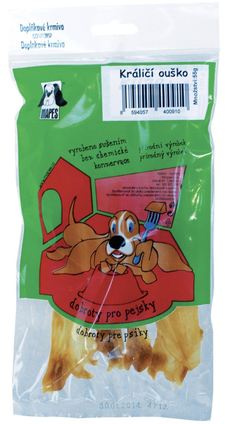 Pochoutka sušená MAPES králičí ouško 55g