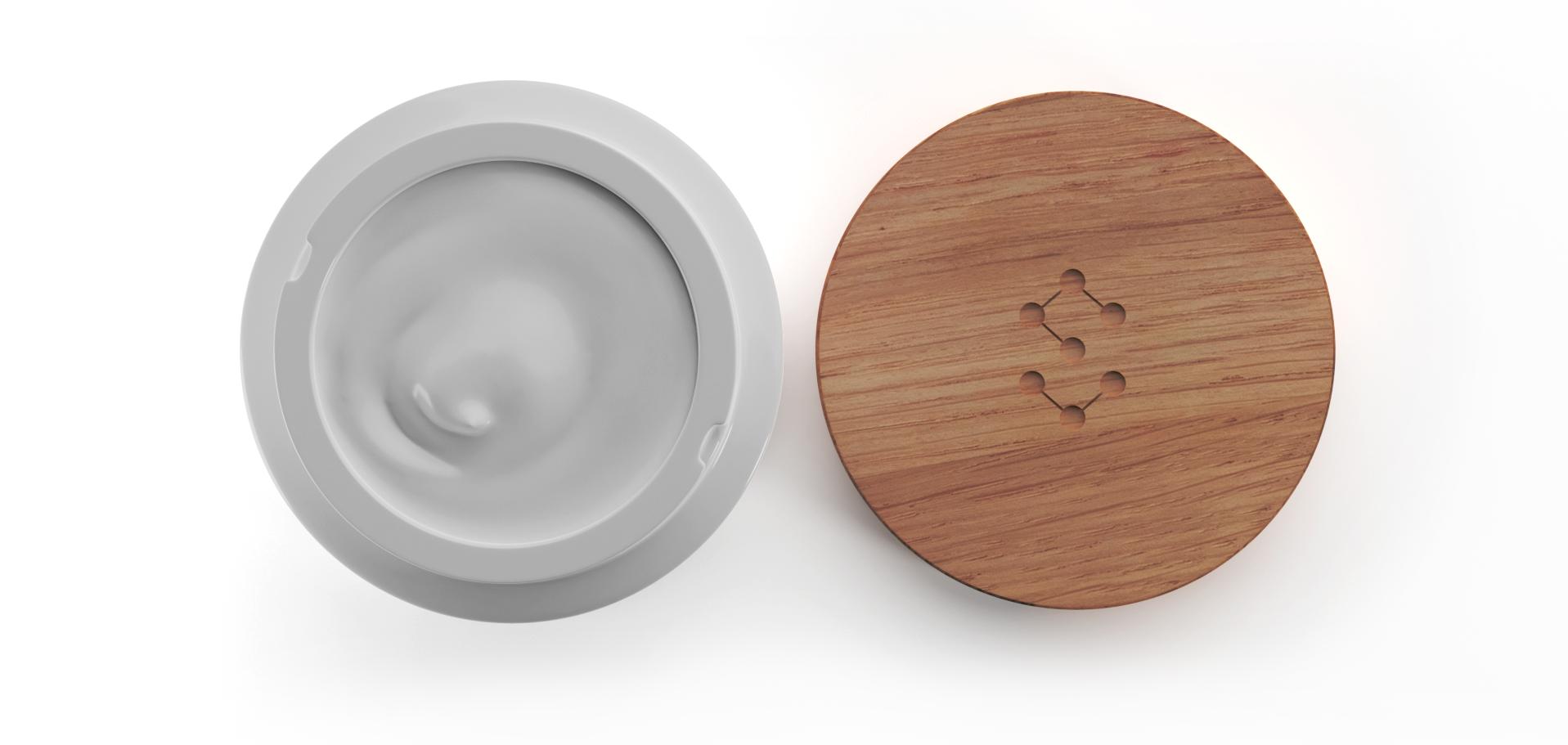 Detail - SAIN Originální noční krém pro omlazení pleti s bioaktivním peptidem a levandulí, pohled shora na porcelánový kelímek Thun s anti-aging krémem s bioaktivním peptidem a levandulí
