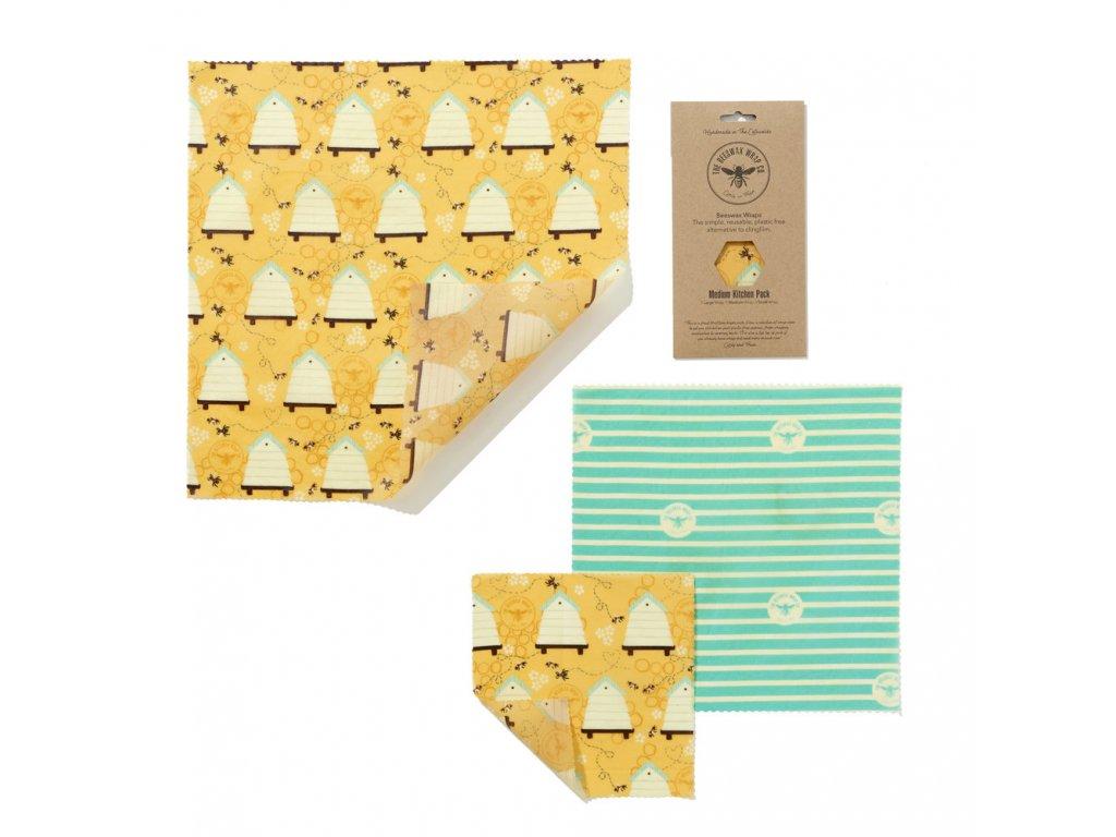 Látkové ubrousky na potraviny BeesWaxWraps Medium Kitchen Pack