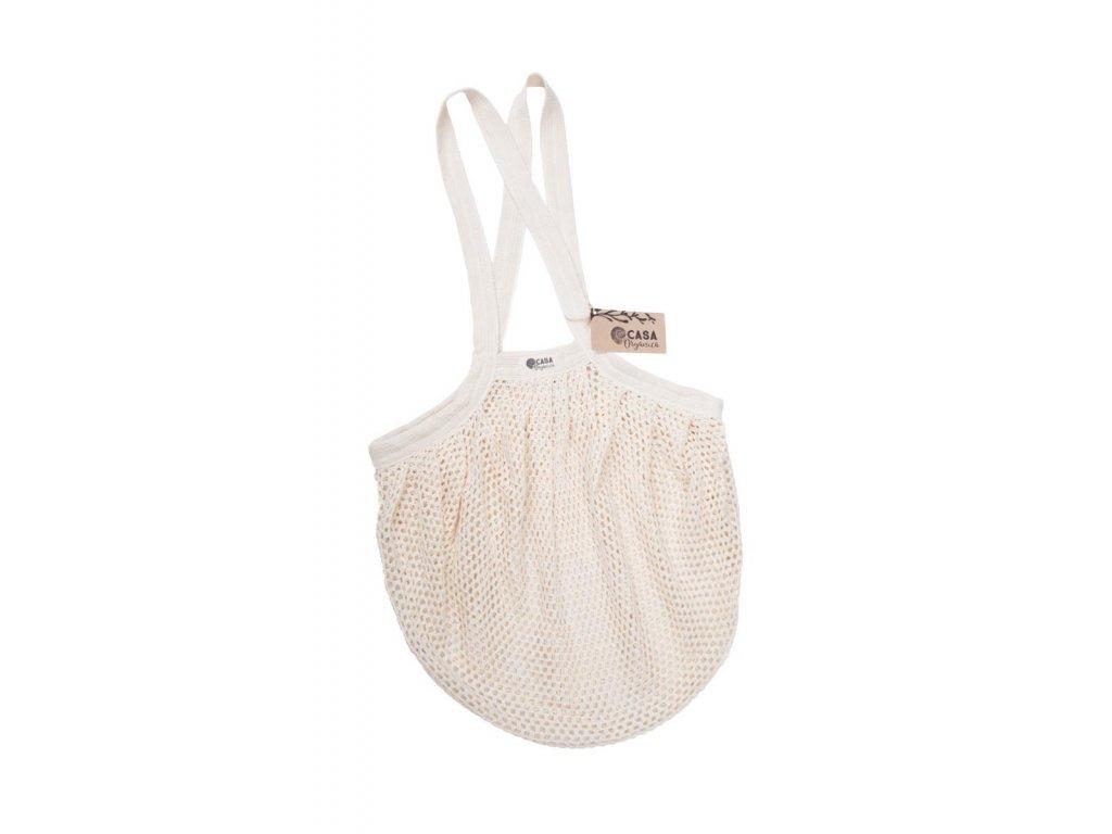 """Nákupní taška """"Síťovka"""" Casa Organica z biobavlny - hustá oka, dlouhá ucha"""