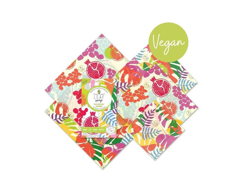 BeeBee Wrap VEGAN FAMILY PACK - opakovaně použitelný bavlněný ubrousek s rostlinným voskem (sada 5 ks)
