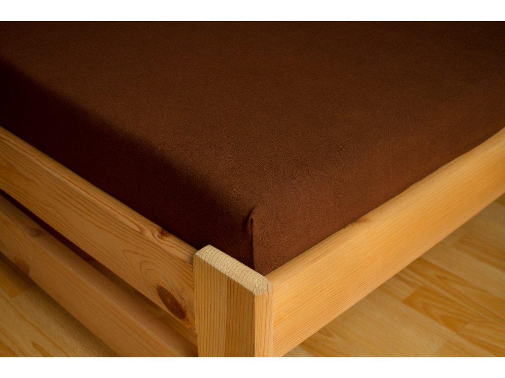 Prostěradlo Jersey Premium 180x200 Tmavě hnědá 100% bavlna