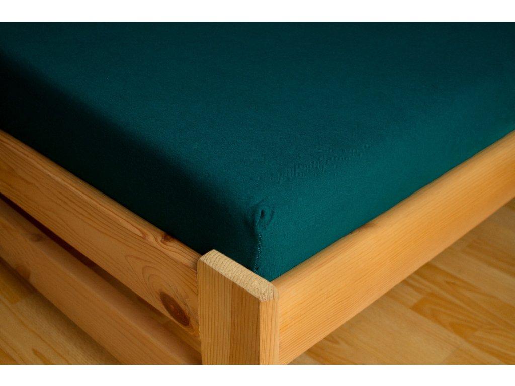 Prostěradlo Jersey Premium 180x200 Tmavě zelená 100% bavlna