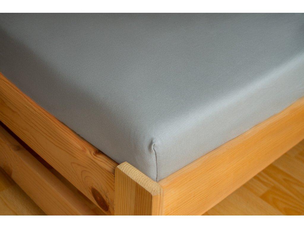 Prostěradlo Jersey 90x200 Světle šedá 100% bavlna