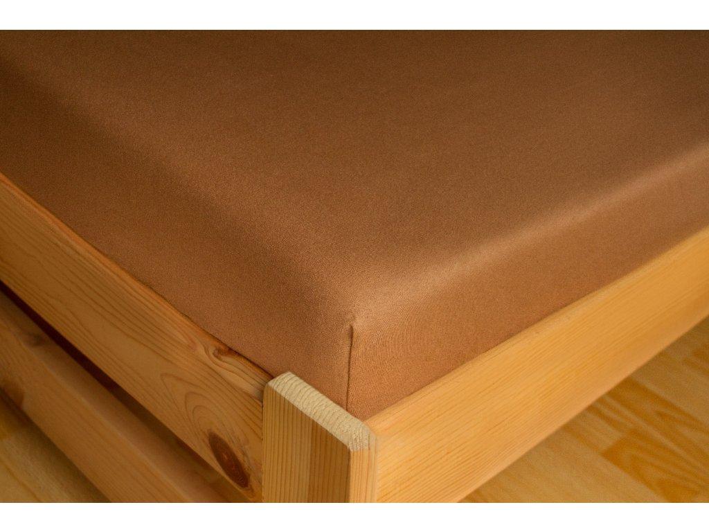 Prostěradlo Jersey 180x200 Sytě hnědá 100% bavlna