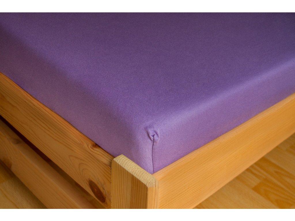 Prostěradlo Jersey 180x200 Tmavě fialová 100% bavlna