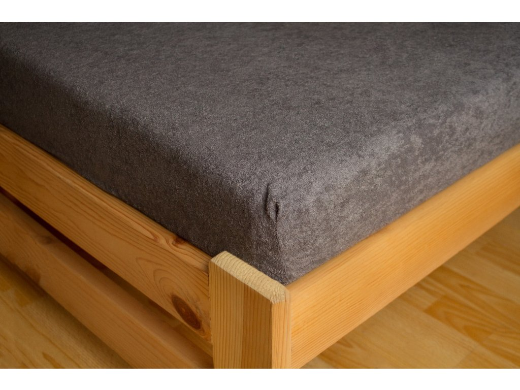 Prostěradlo Frote 90x200 Tmavě šedá 80% bavlna a 20% polyester
