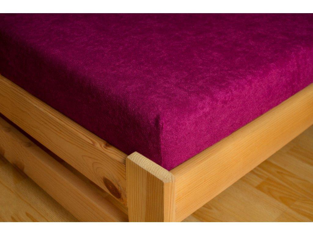 Prostěradlo Frote 90x200 Tmavě fialová 80% bavlna a 20% polyester