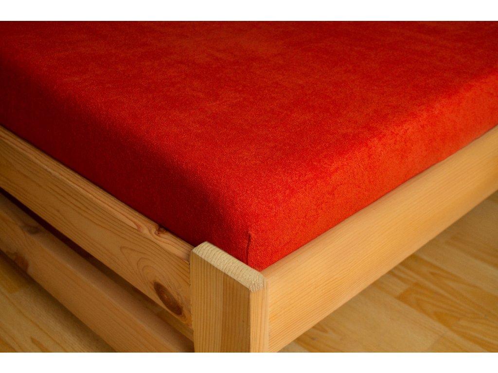 Prostěradlo Frote 90x200 Cihlová 80% bavlna a 20% polyester