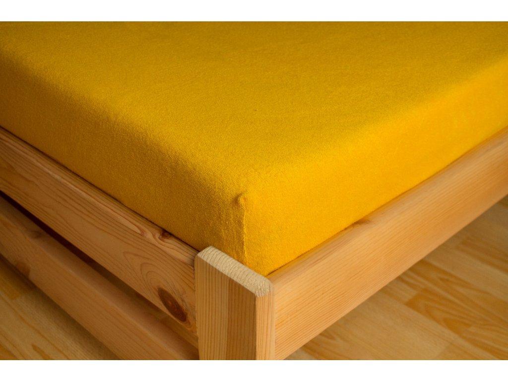 Prostěradlo Frote 180x200 Žlutá 80% bavlna a 20% polyester