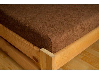 Prostěradlo Frote 180x200 Tmavě hnědá 80% bavlna a 20% polyester