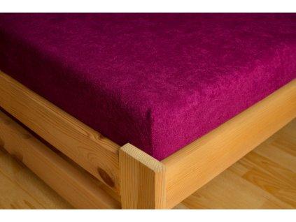 Prostěradlo Frote 180x200 Tmavě fialová 80% bavlna a 20% polyester