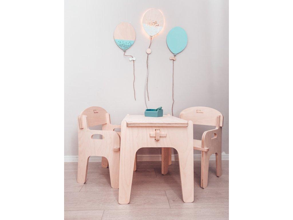 dětský stoleček a židličky ze dřeva mamme