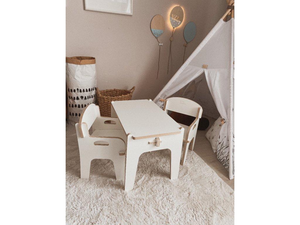 MUMMA SET DĚTSKÉHO NÁBYTKU (2 křesílka + stoleček) White