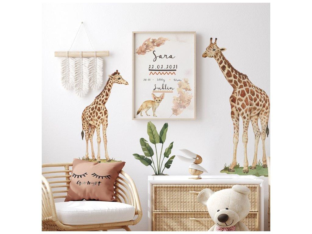 samolepka na zeď žirafy safari
