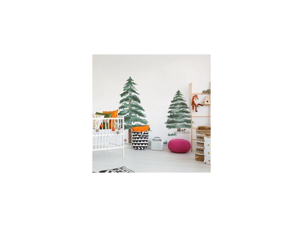 Samolepka na zeď - Jehličnaté stromy 2 ks