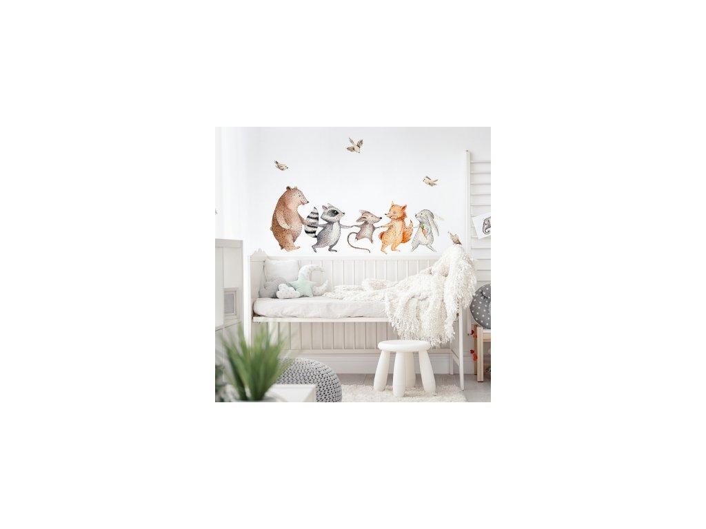 Samolepka na zeď - veselá lesní zvířátka