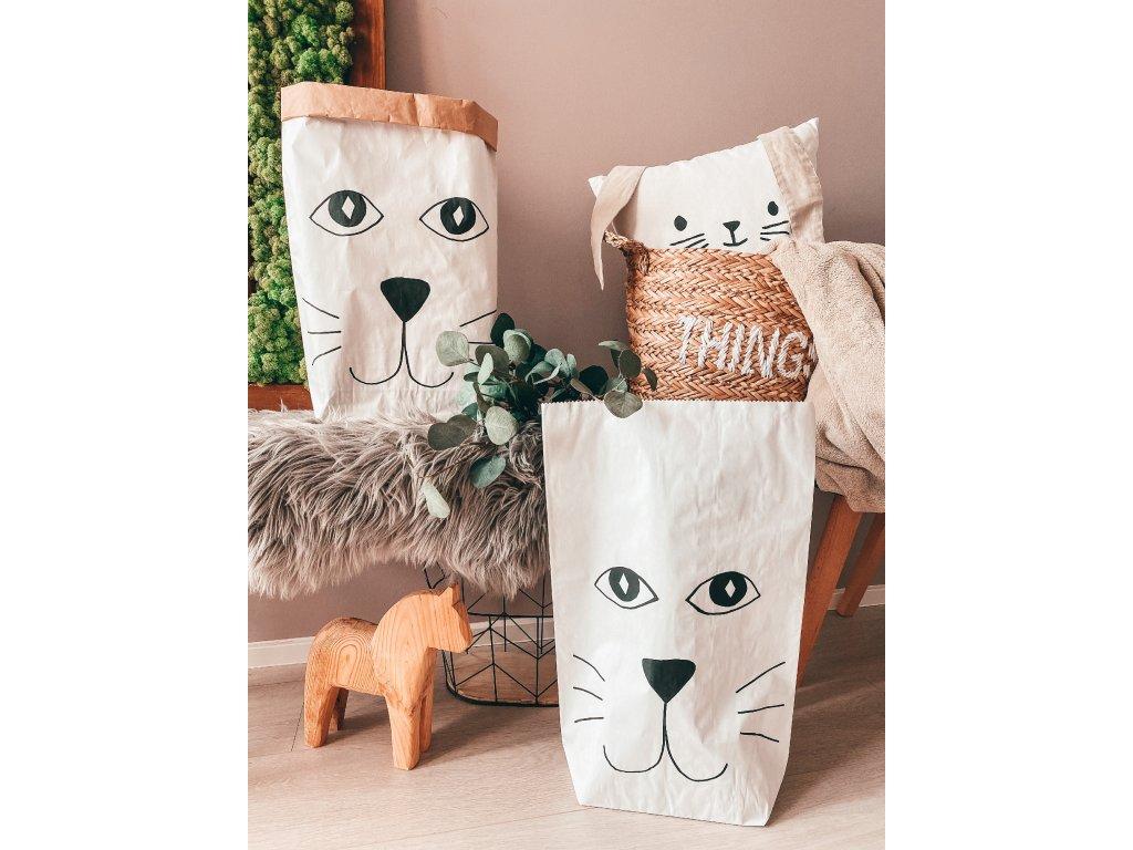 Papírový úložný pytel Kočka