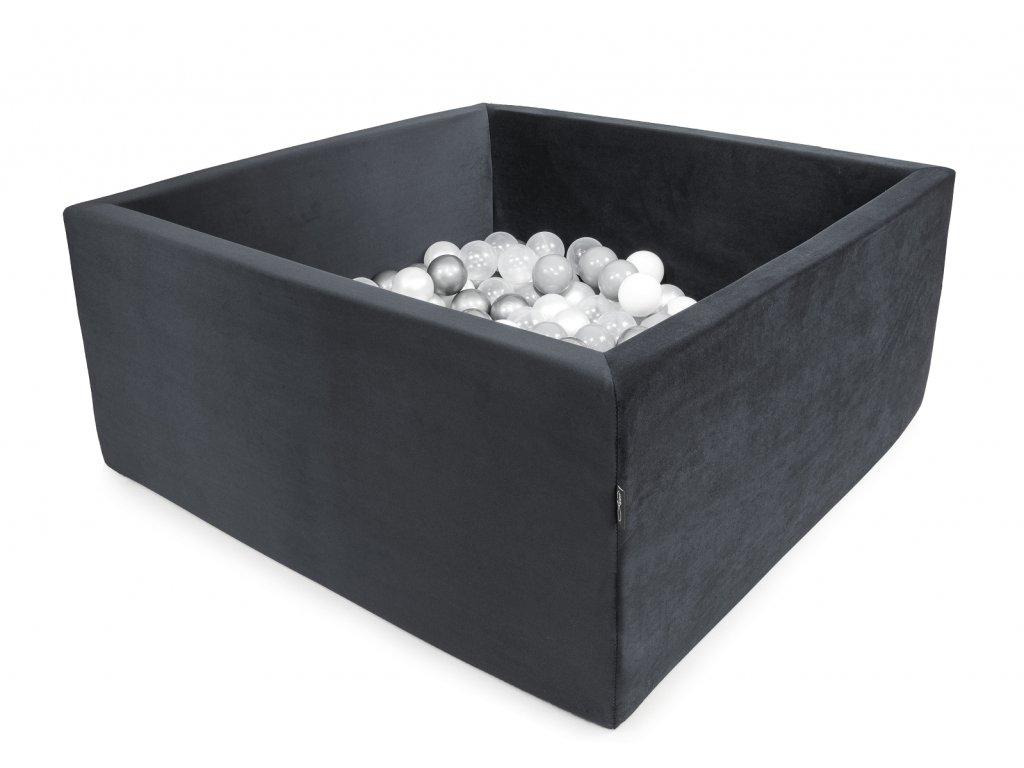 Bazének Velvet tmavě šedý + 200 míčků