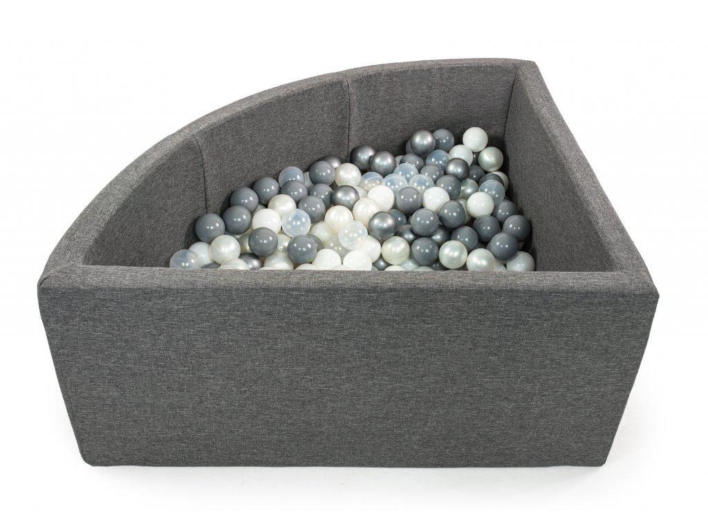 tmavě šedý bazének s míčky