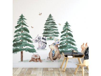 Samolepka na zeď - Medvěd, veverka, mýval, myš