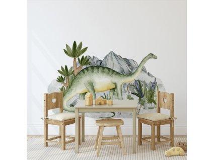Samolepka na zeď - Brontosaurus v krajině