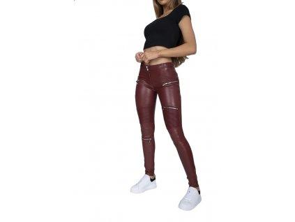 Hugz Jeans Wine Faux Leather Biker Mid Waist