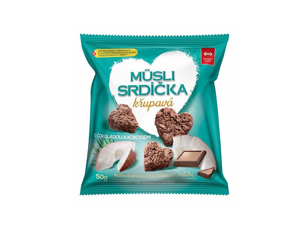 337205 semix musli srdicka krupava s cokoladou a kokosem 50g