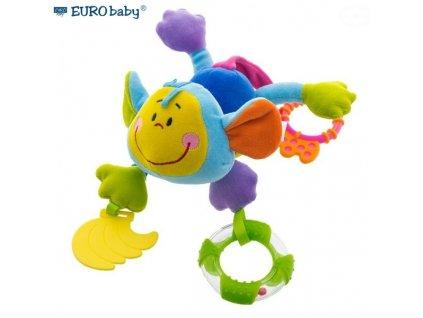 874053 euro baby zavesna edukacni hracka s chrastitkem a kousatkem opice modra