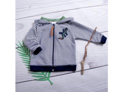 K-Baby Dětská mikina s kapucí Ještěrka Proužek - granát/zelená (Velikost koj oblečení 68 (4-6m))