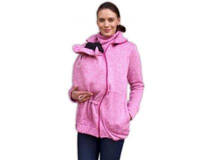 JOŽÁNEK Nosící fleecová mikina - pro nošení dítěte ve předu - růžový melír (Velikosti těh moda S/M)