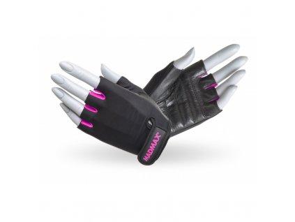 Fitness rukavice Rainbow Pink - MADMAX (velikost XS, barva černá - růžová)