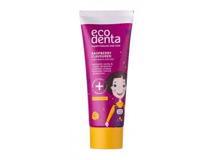 901251 ecodenta zubni pasta s malinovou prichuti pro deti super natural oral care raspberry flavoured toothpaste for kids 75 ml