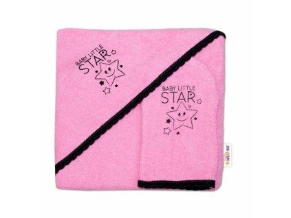 903627 detska osuska s kapuci zinka baby little star baby nellys roz 80 x 80 cm ruzova