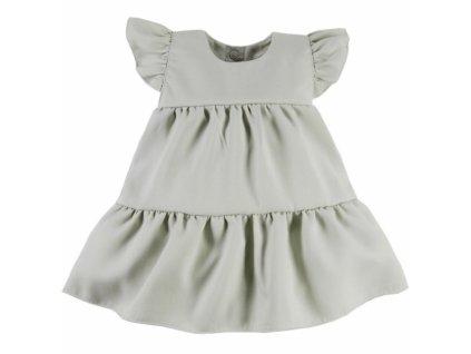 EEVI Dívčí šaty s volánky Nature - khaki (Velikost koj oblečení 62 (2-3m))