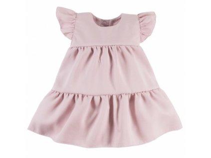EEVI Dívčí šaty s volánky Nature - pudrové, vel. 104 (Velikost koj oblečení 62 (2-3m))