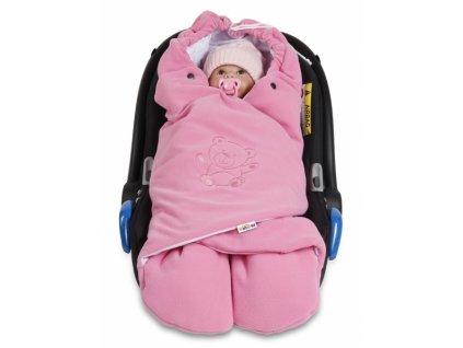 926064 baby nellys detska zavinovacka fusak polar bio bavlna ruzova