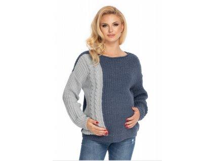 Be MaaMaa Těhotenský svetr, pletený vzor - jeans/šedá (Velikosti těh moda UNI)