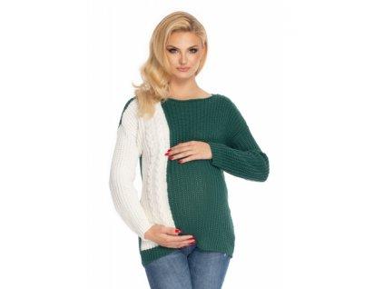 Be MaaMaa Těhotenský svetr, pletený vzor - zelená/bílá (Velikosti těh moda UNI)