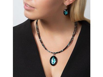 916977 vyrazny nahrdelnik turquoise shards s perlou lampglas s ryzim stribrem np12