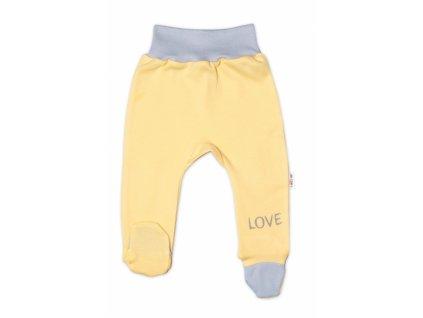 Baby Nellys Kojenecké polodupačky, žluté - Love, vel. 50 (Velikost koj oblečení 68 (3-6m))