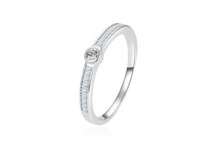 Beneto Nadčasový stříbrný prsten se zirkony AGG303L (Obvod 52 mm)