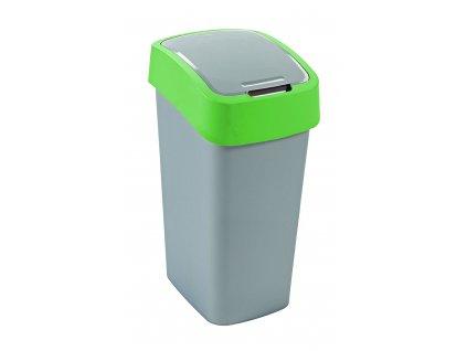 43934 1 curver odpadkovy kos flip bin stribrny zeleny 50l