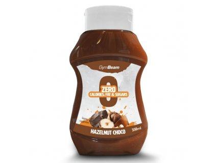 Bezkalorický sirup Hazelnut Choco 350 ml - GymBeam (Příchuť lískový ořech čokoláda, Balení (ml) 350 ml)