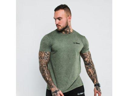 Tričko Basic Heather Military - GymBeam (velikost S, barva heather green)