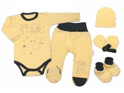 Baby Nellys 5-ti dílná soupravička do porodnice Baby Little Star - žlutá, K19 (Velikost koj oblečení 56 (1-2m))